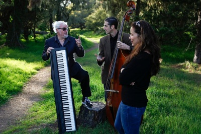 Pianist and author Bill Minor, center, with vocalist Jaqui Hope and bassist Heath Proskin in Pacific Grove, Calif. on March 24, 2013.  Photo By David Royal