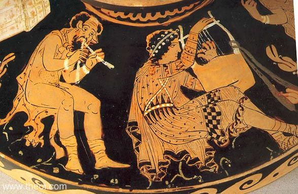 Ancient Greek double flute and lyre