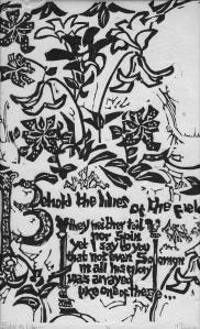Woodcut Prints Lilies
