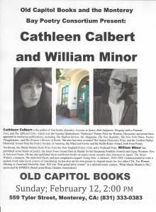 Flyer for February 12 Old Capitol Books Reading