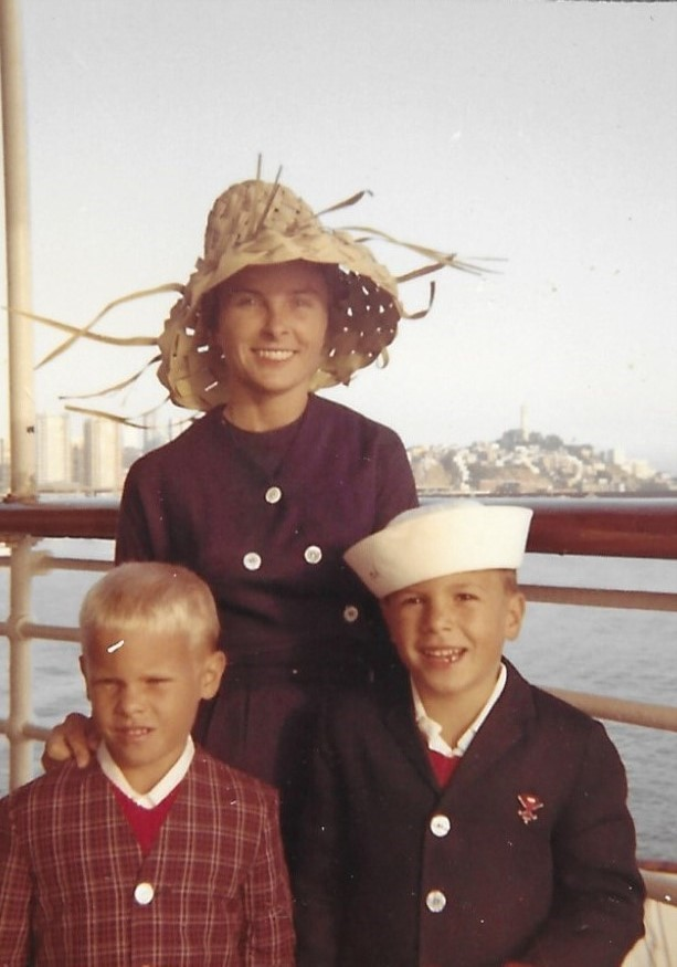 This image has an empty alt attribute; its file name is san-francisco1966-betty-and-boys-on-ship.jpg