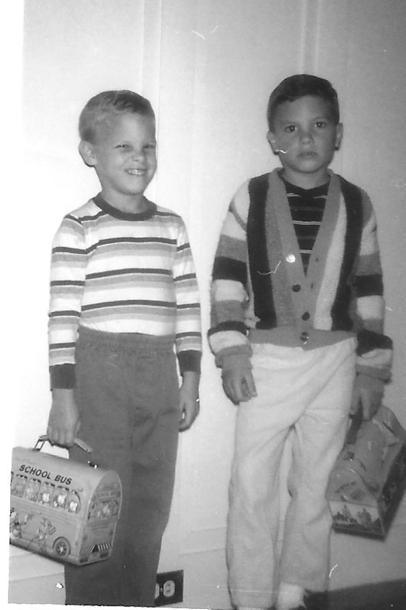 This image has an empty alt attribute; its file name is sf-1966-tim-and-steve-off-to-school.jpg